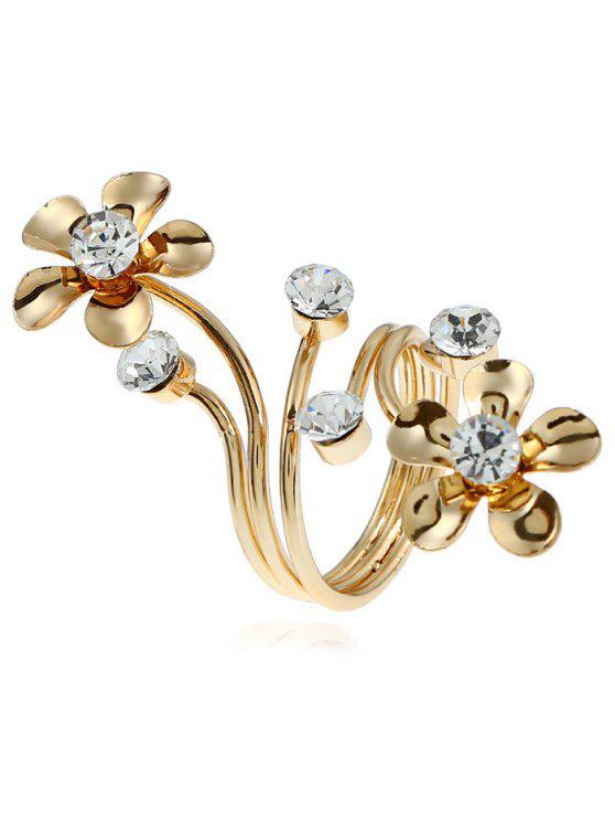 Alloy Rhinestone Floral Full Finger Ring - Dourado