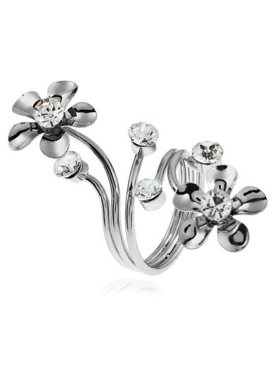 Alloy Rhinestone Floral Full Finger Ring - Prata