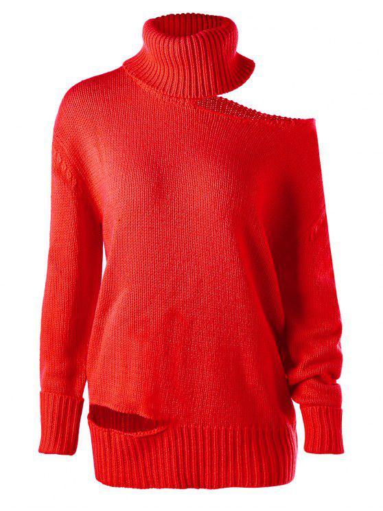 لباس المحبوك باردة الكتف عالية الرقبة - أحمر L