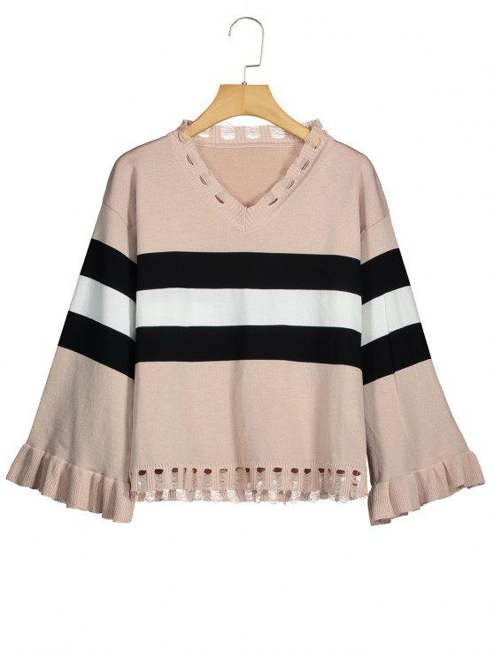 outfit Distressed Striped V Neck Sweater - APRICOT ONE SIZE