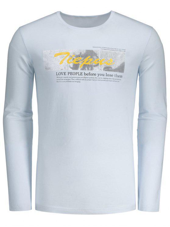 T-shirt gráfico redondo Tiepus do pescoço - Branco 2XL