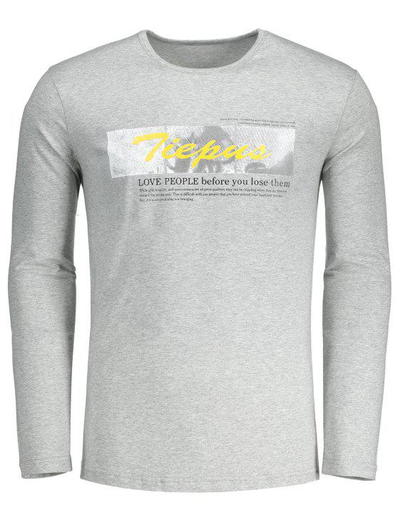 shops Round Neck Graphic Tiepus T-shirt - GRAY XL