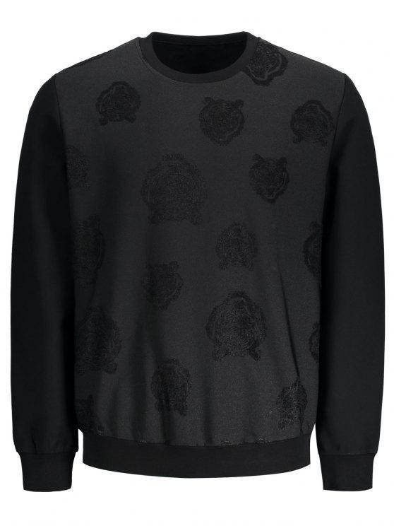 Sweat-shirt à Motif Rose - Noir L