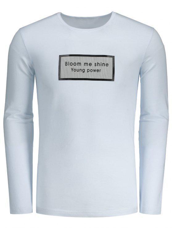 trendy Slim Fit Long Sleeve Letter Tee - WHITE 2XL
