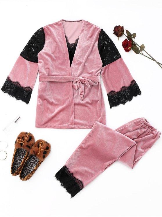 Ensemble Pyjama en Velours à Empiècement en Dentelle - Rose  M