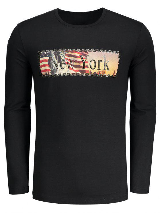 New York Brief-Druck-T-Shirt - Schwarz L