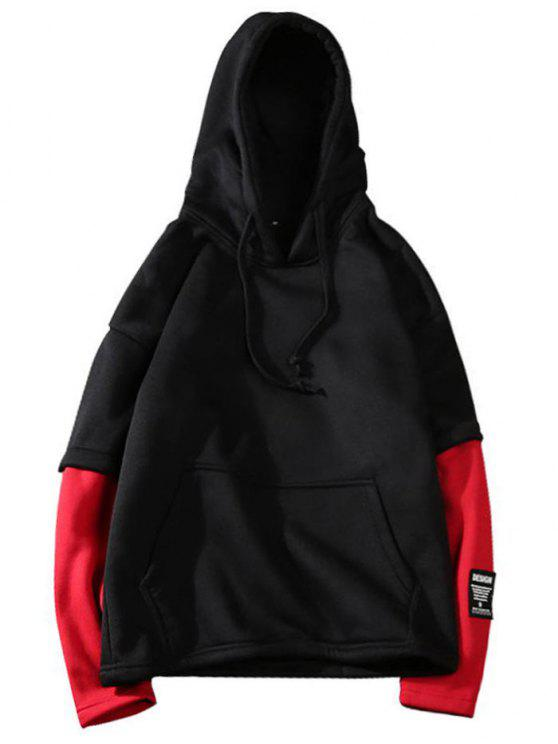 hot Two Tone Fleece Mens Hoodie - BLACK L