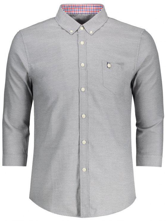 fancy Button Down Three Quarter Sleeve Shirt - GRAY 3XL