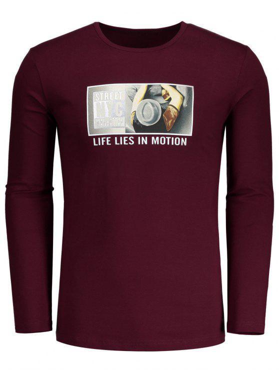T-shirt à Motif à Col Rond - Bourgogne L