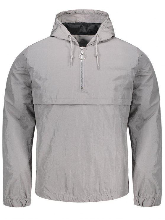outfits Hooded Half-zip Windbreaker Jacket - GRAY XL