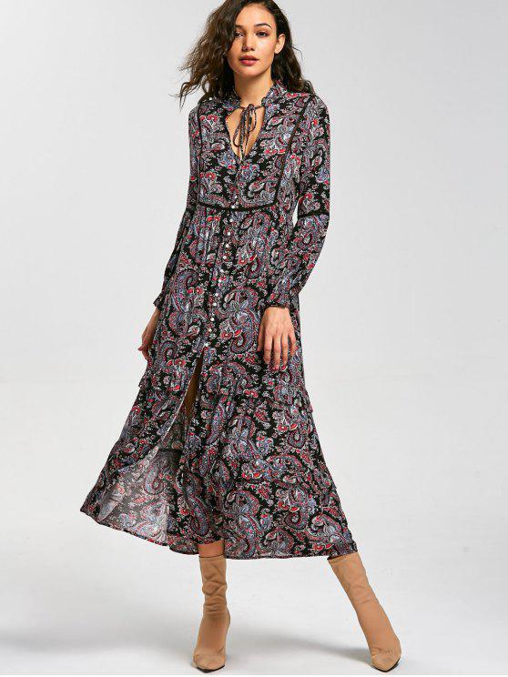 shop Paisley Print Long Sleeve Button Down Dress - COLORMIX 2XL