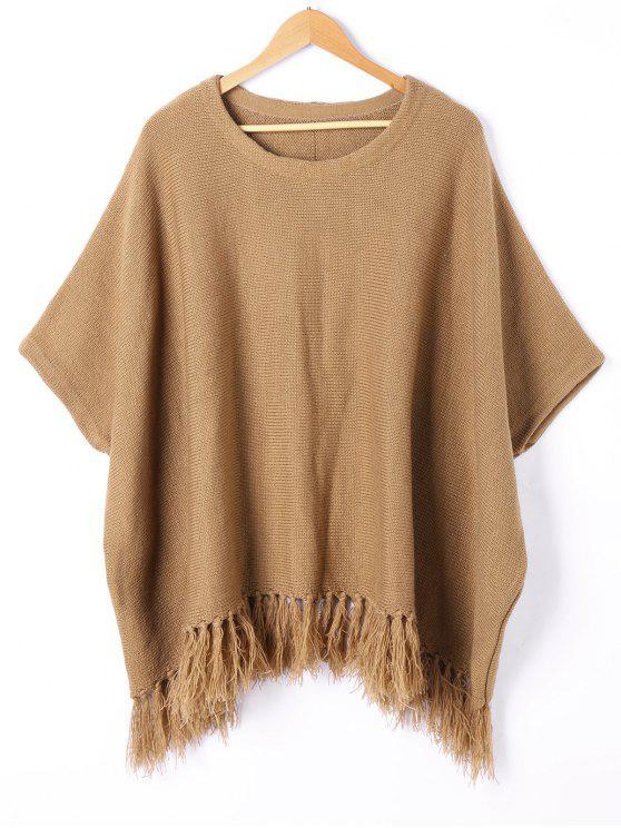 chic Tassel Trim Dolman Sleeve Sweater - BROWN M