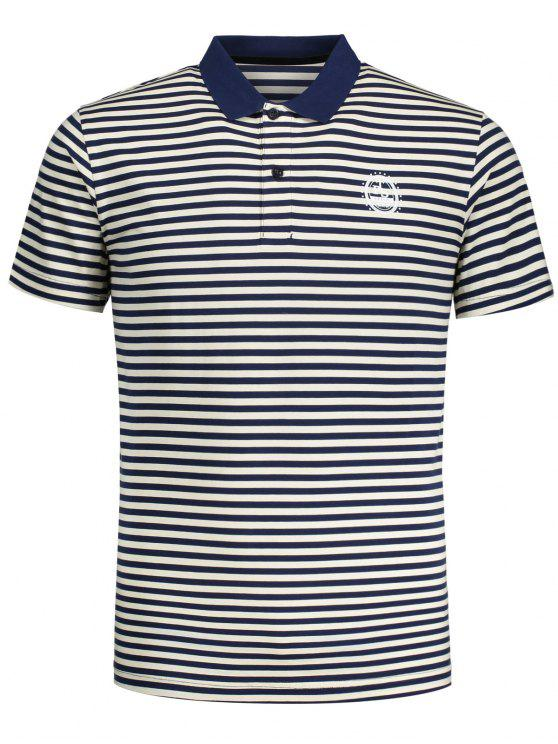 women Short Sleeve Striped Polo T-shirt - BLUE AND WHITE L