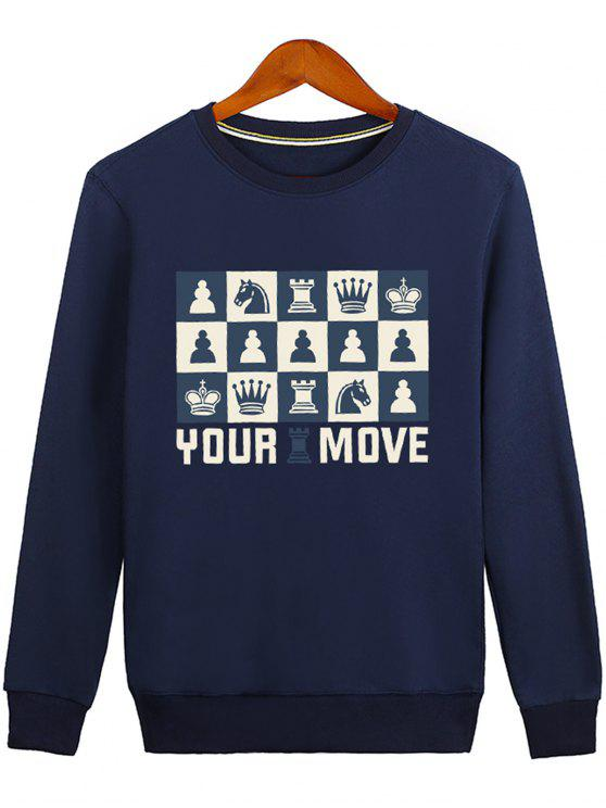 fashion Horse Crown Graphic Crew Neck Sweatshirt - BLUE M