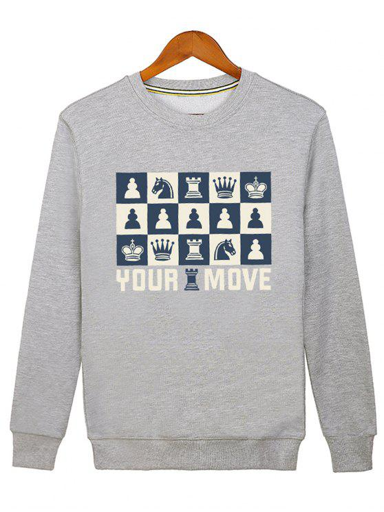 new Horse Crown Graphic Crew Neck Sweatshirt - GRAY M
