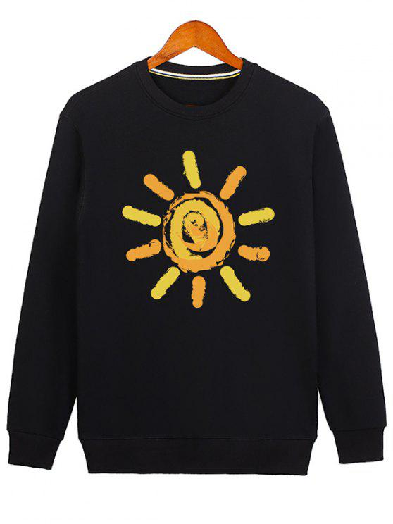 fancy Sun Print Cartoon Crew Neck Sweatshirt - BLACK M
