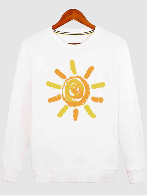 women's Sun Print Cartoon Crew Neck Sweatshirt - WHITE M