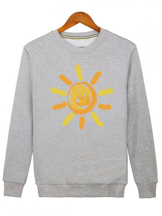 hot Sun Print Cartoon Crew Neck Sweatshirt - GRAY M