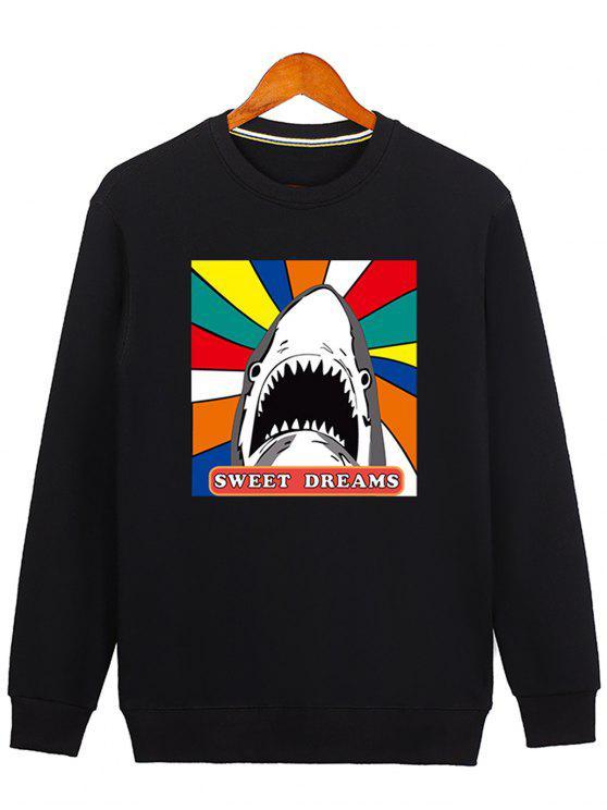 buy Letter Graphic Cartoon Sweatshirt - BLACK M