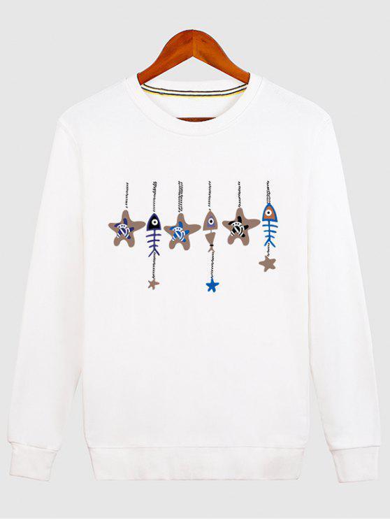 womens Stars and Fishbone Windbell Crewneck Sweatshirt - WHITE M
