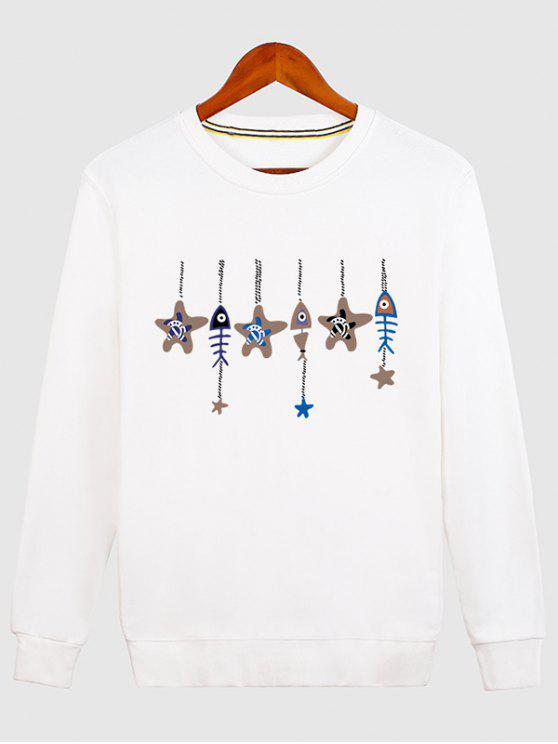 lady Stars and Fishbone Windbell Crewneck Sweatshirt - WHITE XL