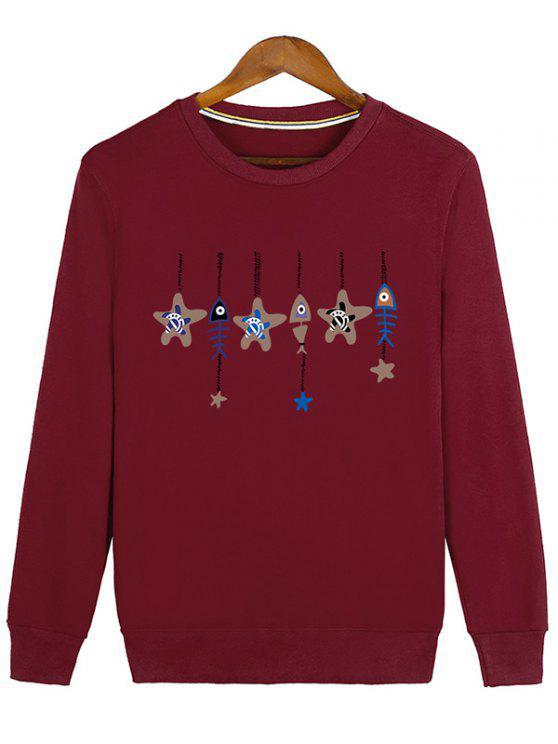 shops Stars and Fishbone Windbell Crewneck Sweatshirt - RED XL