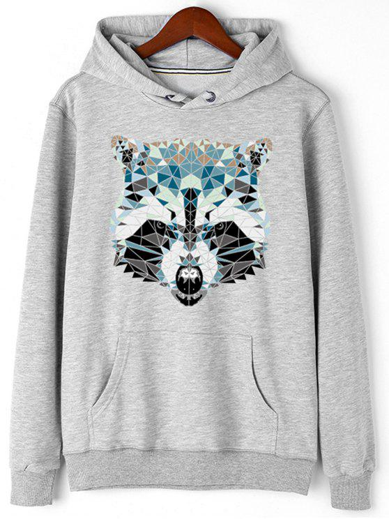 latest Kangaroo Pocket Animal Head Print Hoodie - GRAY M