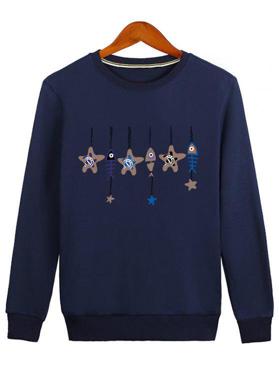 fashion Stars and Fishbone Windbell Crewneck Sweatshirt - BLUE 2XL