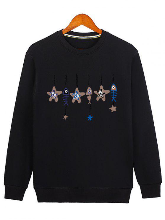 lady Stars and Fishbone Windbell Crewneck Sweatshirt - BLACK XL