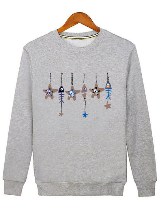 latest Stars and Fishbone Windbell Crewneck Sweatshirt - GRAY M