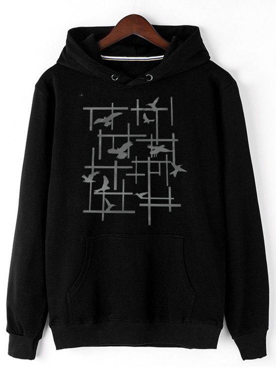 chic Pigeon Print Fleece Pullover Hoodie - BLACK M