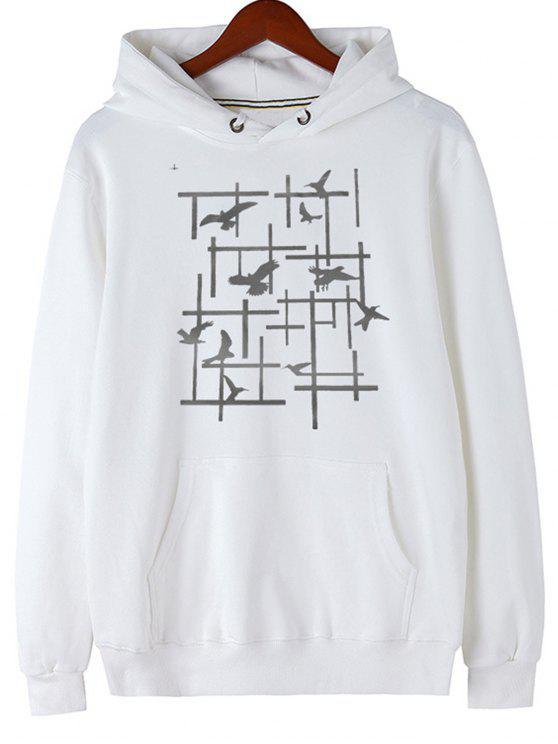 women Pigeon Print Fleece Pullover Hoodie - WHITE M