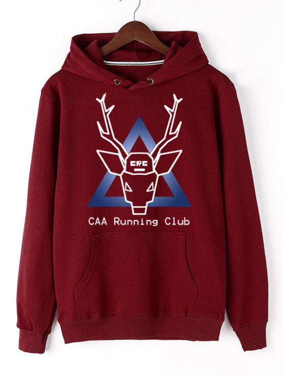 fashion Christmas Deer Pullover Graphic Hoodie - RED M