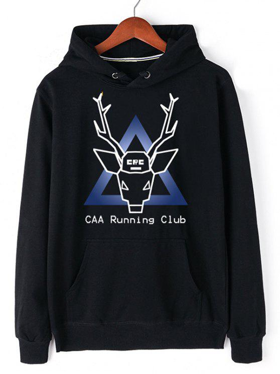 women Christmas Deer Pullover Graphic Hoodie - BLACK 2XL