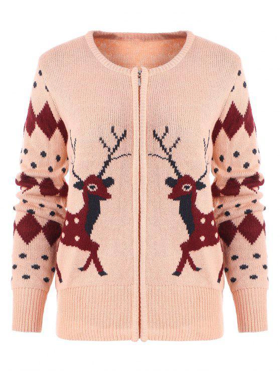Zipper Fly Geometric Elk Print Cardigan de Natal - Rosa Um Tamanho
