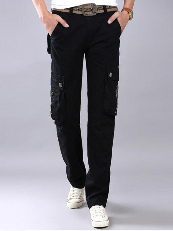 women Zip Fly Flap Pockets Casual Cargo Pants - BLACK 34