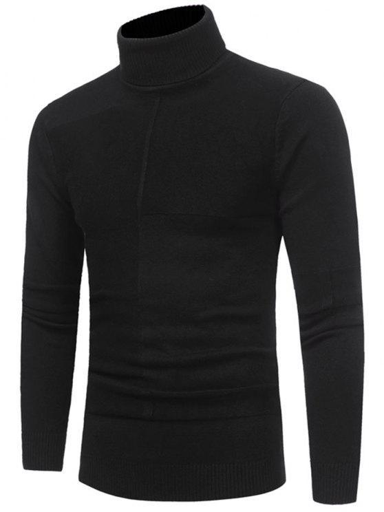 fashion Panel Design Turtleneck Sweater - BLACK 3XL