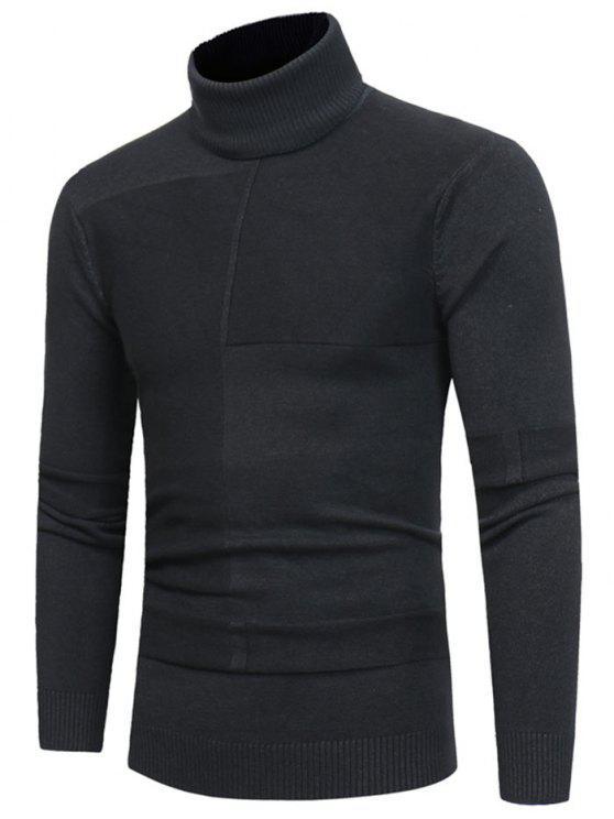 Suéter de cuello de tortuga con diseño de panel - Gris Oscuro 2XL