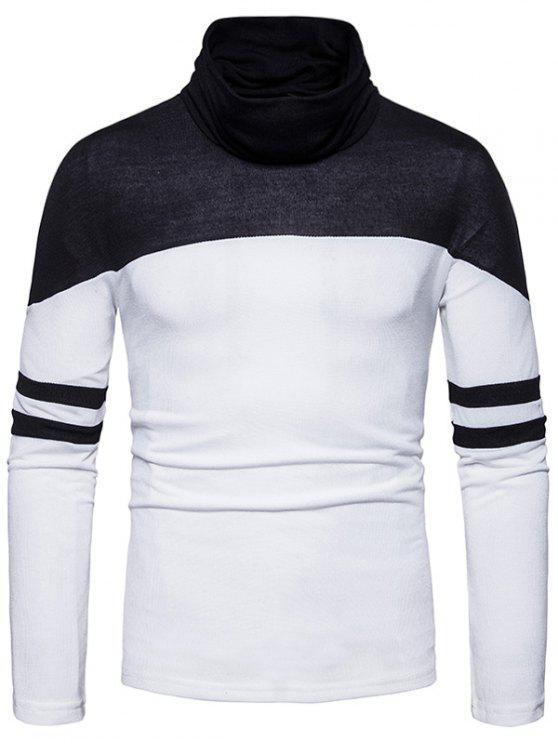 Maglione a righe di Varsity Colour Block Neck Collo - Bianco 2XL