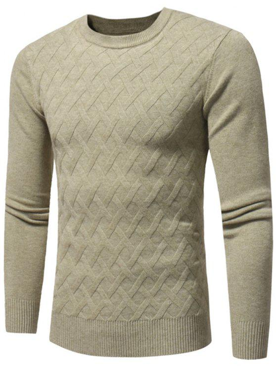 women's Net Pattern Crew Neck Sweater - KHAKI L