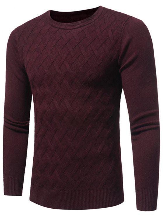 trendy Net Pattern Crew Neck Sweater - WINE RED L
