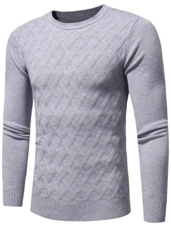 unique Net Pattern Crew Neck Sweater - GRAY L