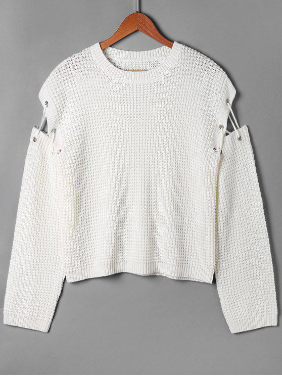 affordable Open Knitted Lace Up Sweater - WHITE XL