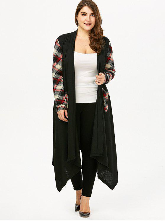 Plus Size Plaid Pocket Longline Drape Cardigan - Preto 3XL