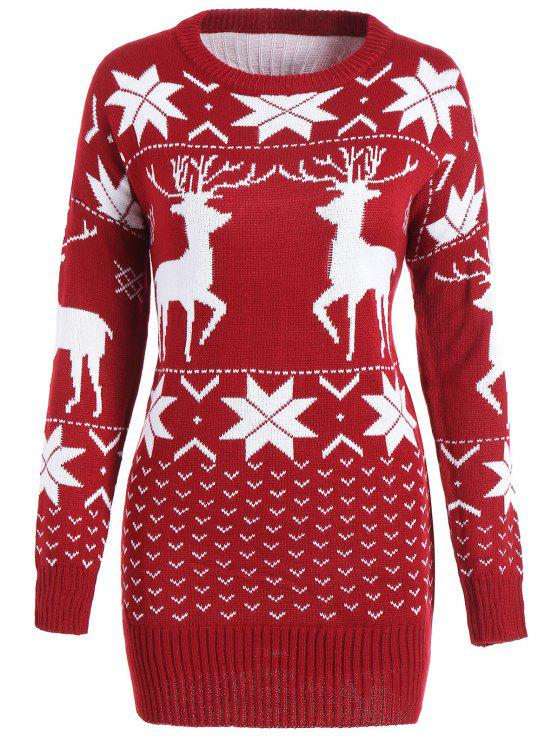 Maple Leaf Deer Tunic Christmas Sweater WINE RED: Sweaters ONE ...