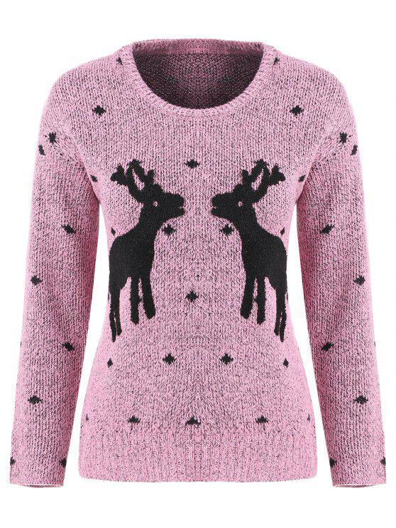 Long Sleeve Elk Snowflake Christmas Sweater PINK: Sweaters ONE ...