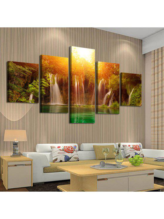 Outfits sunset waterfall print split canvas wall art painting colorful 1pc820