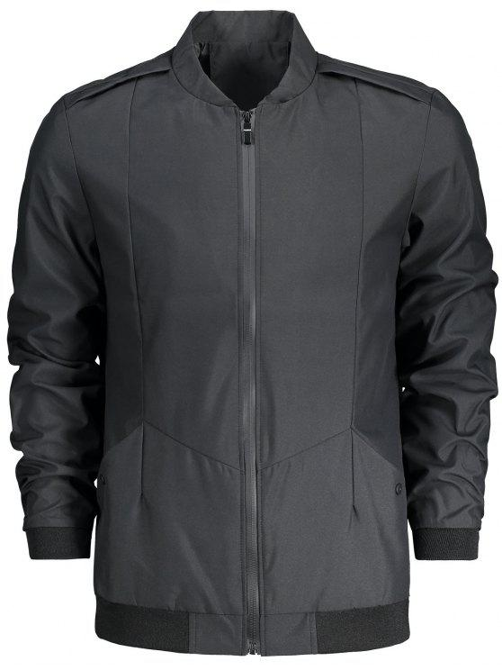 Stand Collar Zip Fly Jacket - Negro 2XL