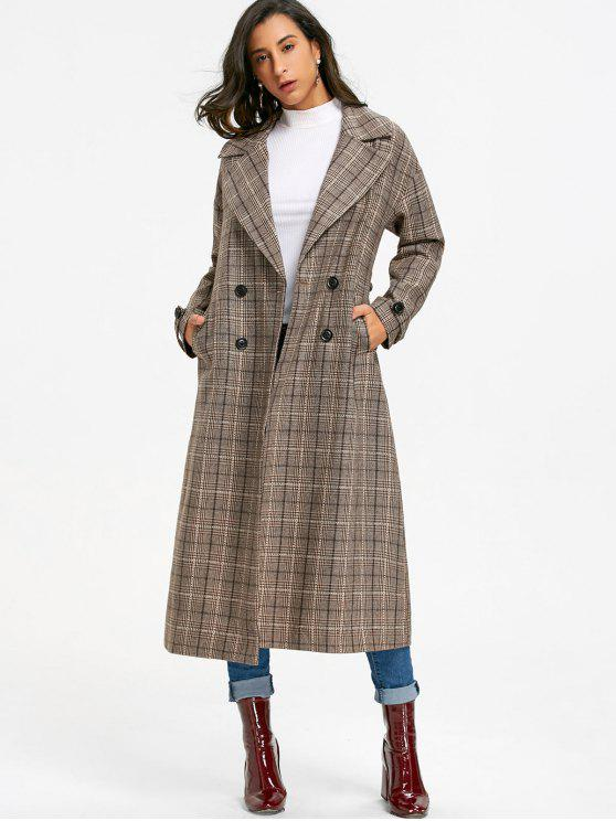 affordable Double Breasted Plaid Trench Coat - KHAKI GREY L
