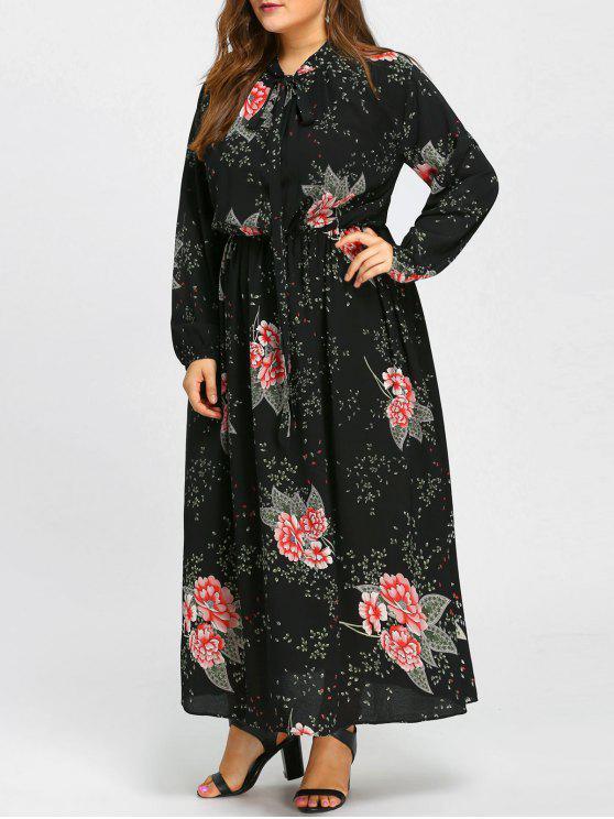 فستان طويل من الشيفون مزين بطبعة أزهار - أسود 4XL
